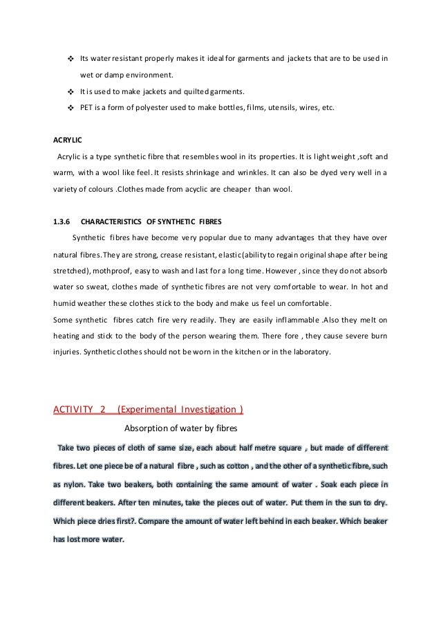 essay on synthetic fibres