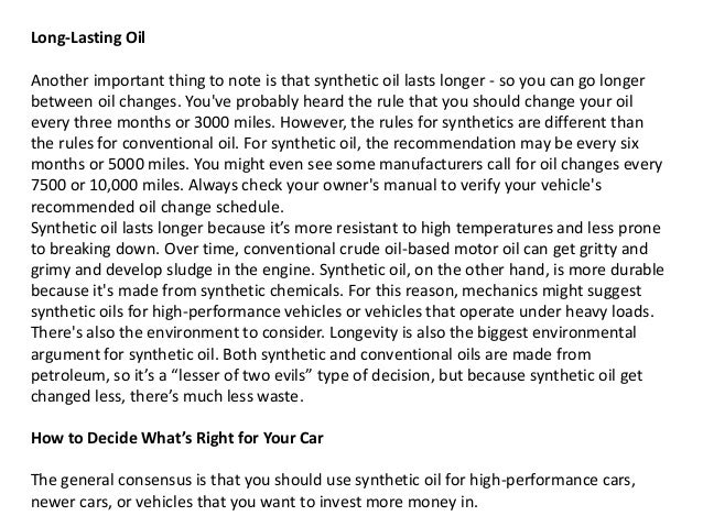 Synthetic oil vs conventional motor oil understanding for What is the difference between synthetic and conventional motor oil