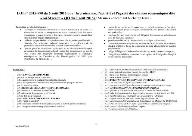 1 Au 21/08/2015 LOI n° 2015-990 du 6 août 2015 pour la croissance, l'activité et l'égalité des chances économiques dite « ...