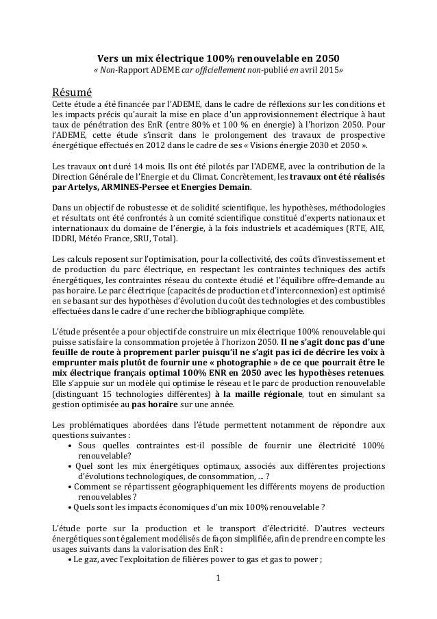 1 Vers un mix électrique 100% renouvelable en 2050 « Non-Rapport ADEME car officiellement non-publié en avril 2015» Résumé...