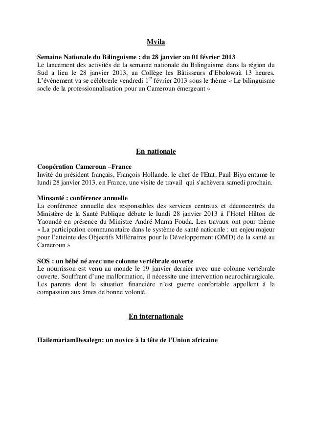 MvilaSemaine Nationale du Bilinguisme : du 28 janvier au 01 février 2013Le lancement des activités de la semaine nationale...