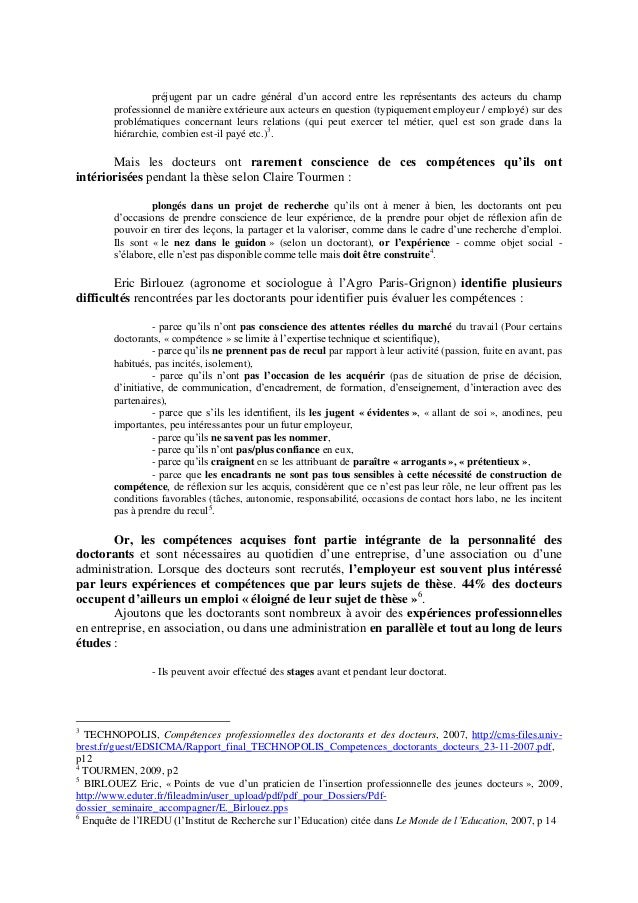 synth u00e8se  u0026quot bilan de competence   valorisation professionnelle du docto u2026