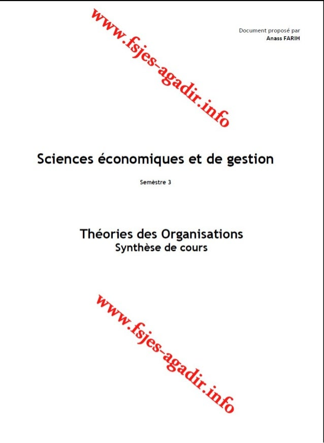 Synthèse de cours theories des organisations