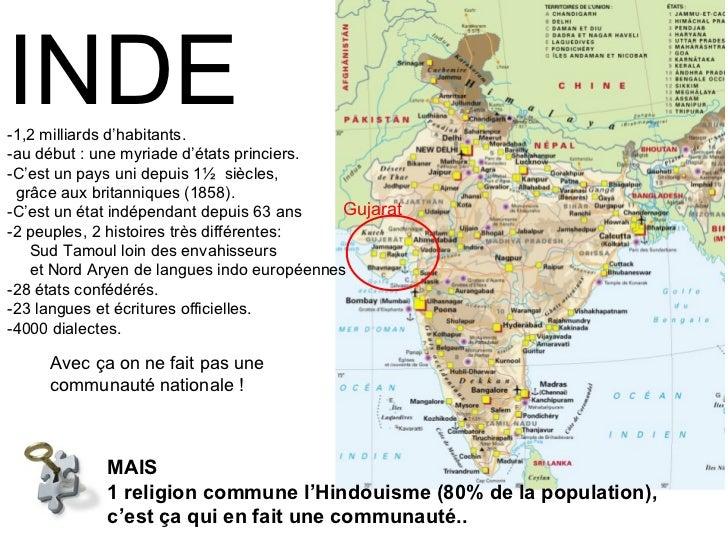 MAIS  1 religion commune l'Hindouisme (80% de la population),  c'est ça qui en fait une communauté.. INDE -1,2 milliards d...