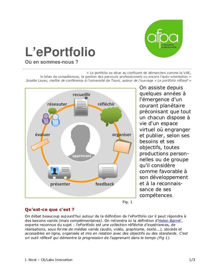 L'ePortfolioOù en sommes-nous ?                                      « Le portfolio se situe au confluent de démarches com...