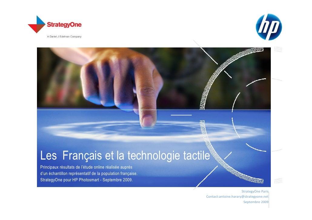 Les Français et la technologie tactile Principaux résultats de l'étude online réalisée auprès d'un échantillon représentat...