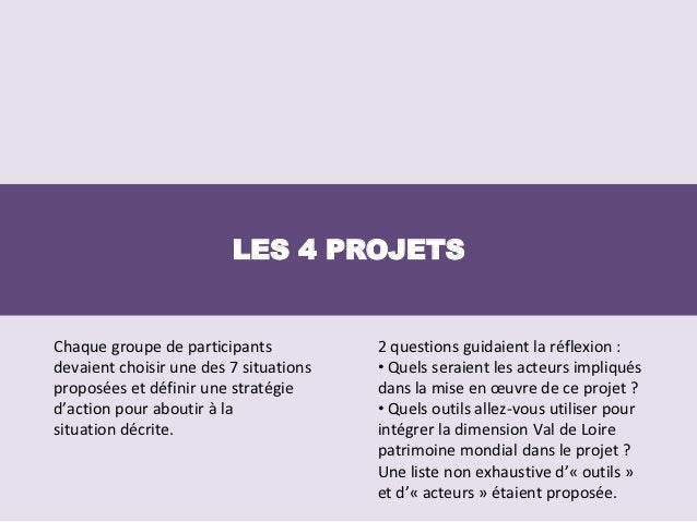 LES 4 PROJETSChaque groupe de participants           2 questions guidaient la réflexion :devaient choisir une des 7 situat...