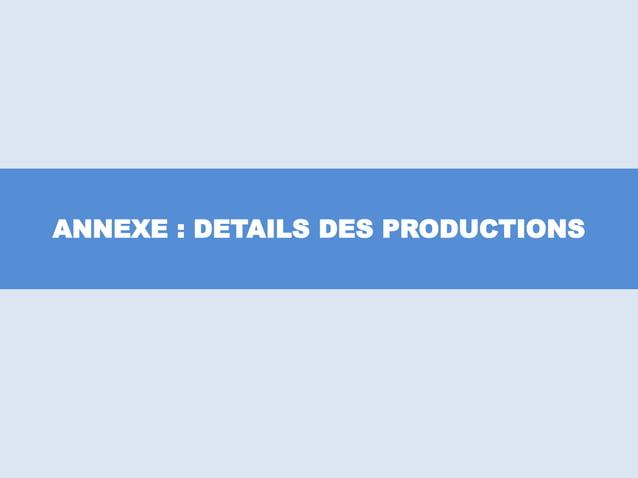 ANNEXE : DETAILS DES PRODUCTIONS