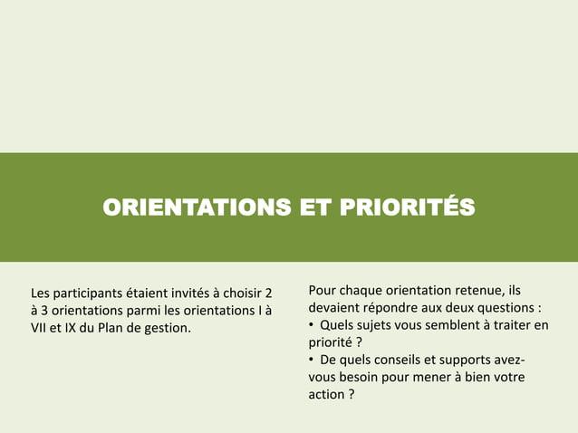 ORIENTATIONS ET PRIORITÉSLes participants étaient invités à choisir 2   Pour chaque orientation retenue, ilsà 3 orientatio...