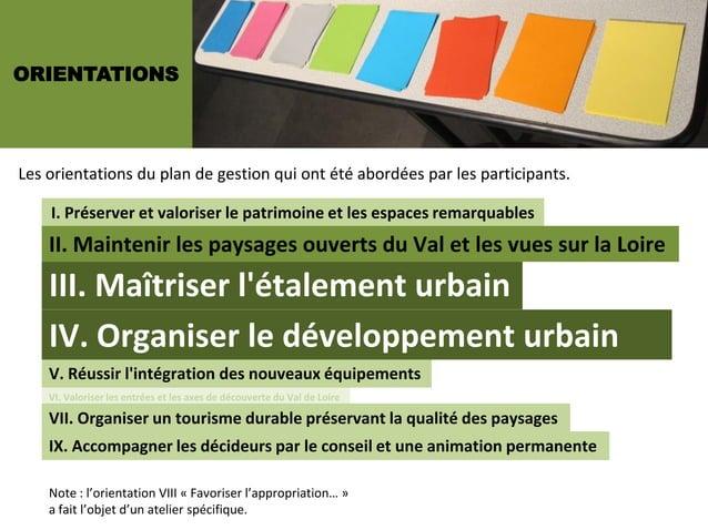 ORIENTATIONSLes orientations du plan de gestion qui ont été abordées par les participants.    I. Préserver et valoriser le...