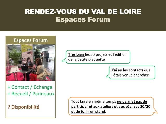 RENDEZ-VOUS DU VAL DE LOIRE               Espaces Forum  Espaces Forum                       Très bien les 50 projets et l...
