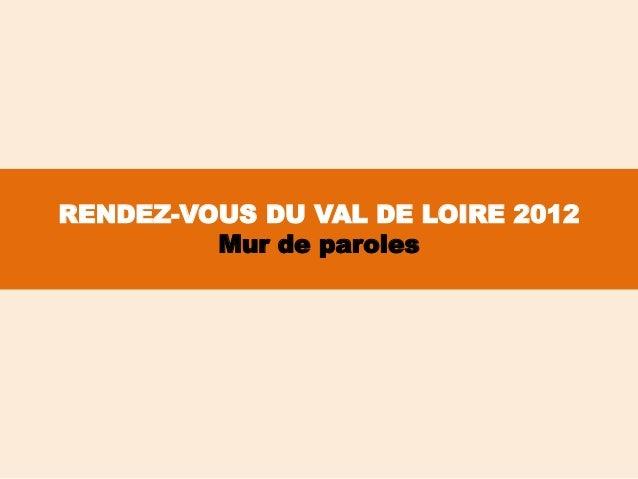 RENDEZ-VOUS DU VAL DE LOIRE 2012         Mur de paroles