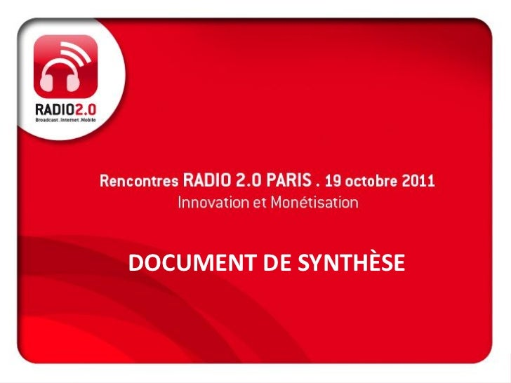 DOCUMENT DE SYNTHÈSE