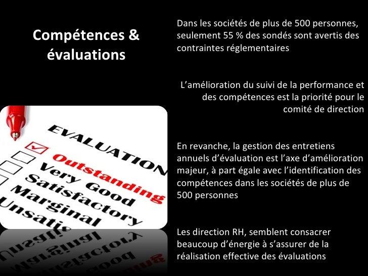 Compétences & évaluations Dans les sociétés de plus de 500 personnes, seulement 55 % des sondés sont avertis des contraint...