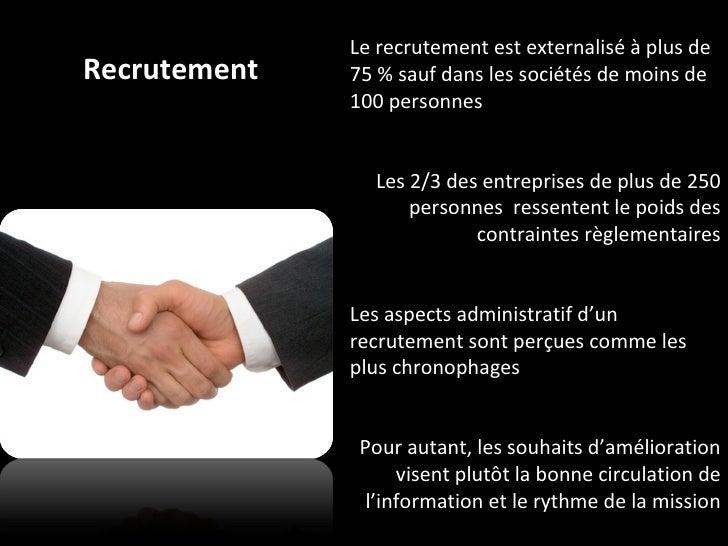 Recrutement Le recrutement est externalisé à plus de 75 % sauf dans les sociétés de moins de 100 personnes Les 2/3 des ent...