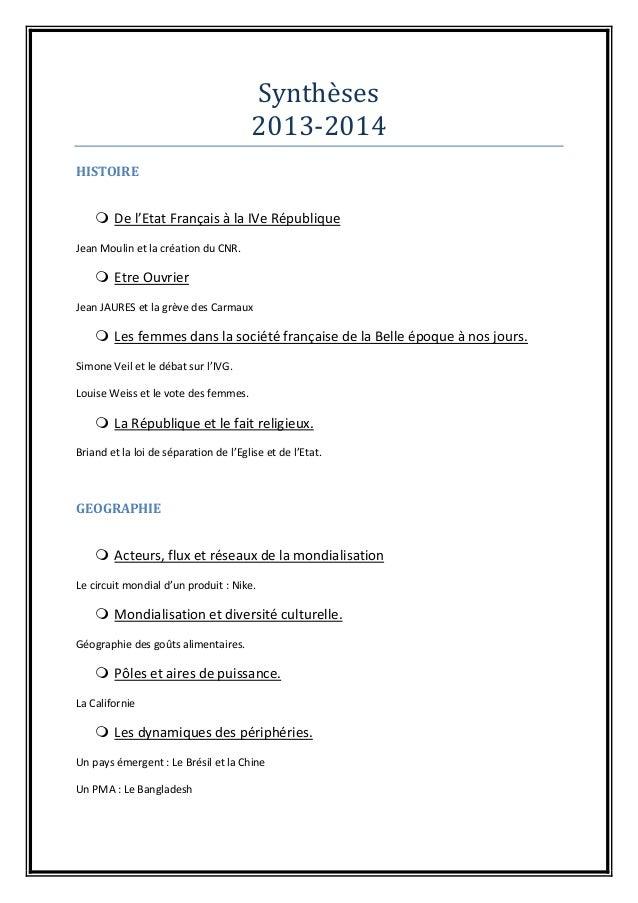 Synthèsès 2013-2014 HISTOIRE  De l'Etat Français à la IVe République Jean Moulin et la création du CNR.  Etre Ouvrier Je...