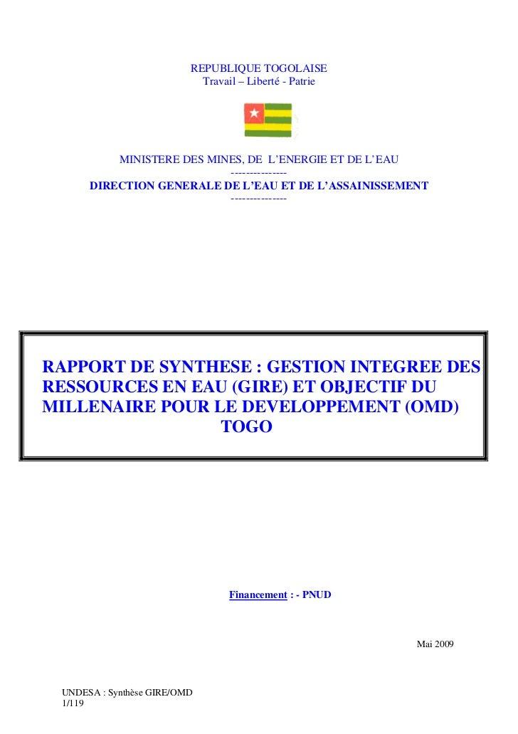 REPUBLIQUE TOGOLAISE                            Travail – Liberté - Patrie          MINISTERE DES MINES, DE L'ENERGIE ET D...