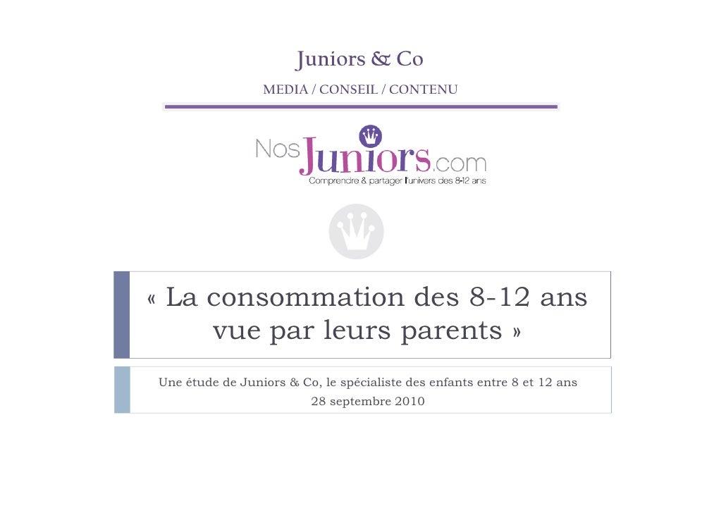Etude Juniors & Co : la consommation des Juniors vue par leurs parents