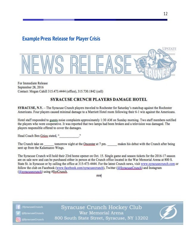 syracuse-crunch-crisis-communication-plan-13-638 Example Press Release For Social Media Platforms on