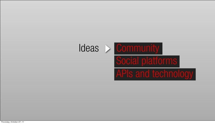 Ideas   Community                                   Social platforms                                   APIs and technology...