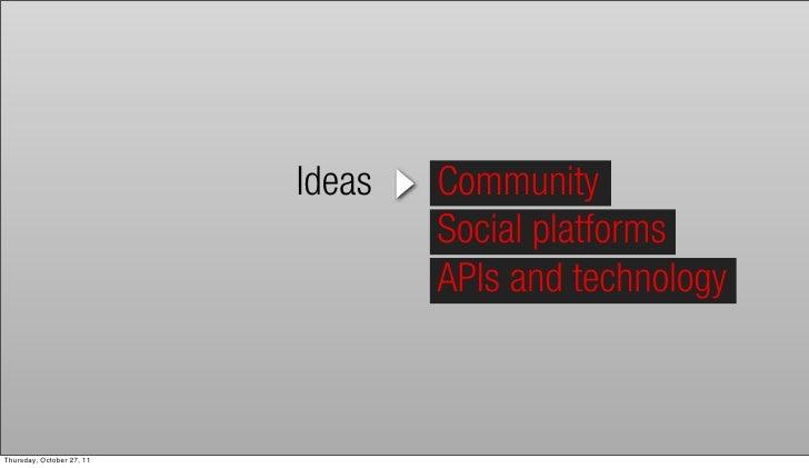 Ideas   Community                                   Social platforms                                   APIs and technology...