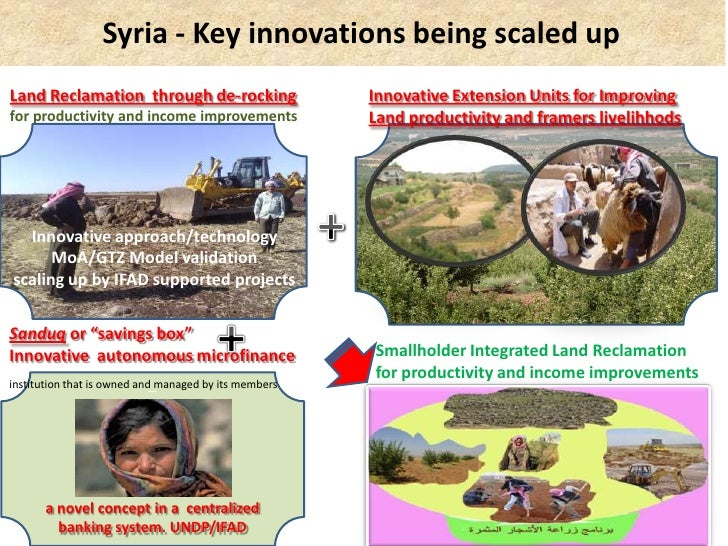 Syria - Key innovations being scaled upLand Reclamation through de-rocking                    Innovative Extension Units f...