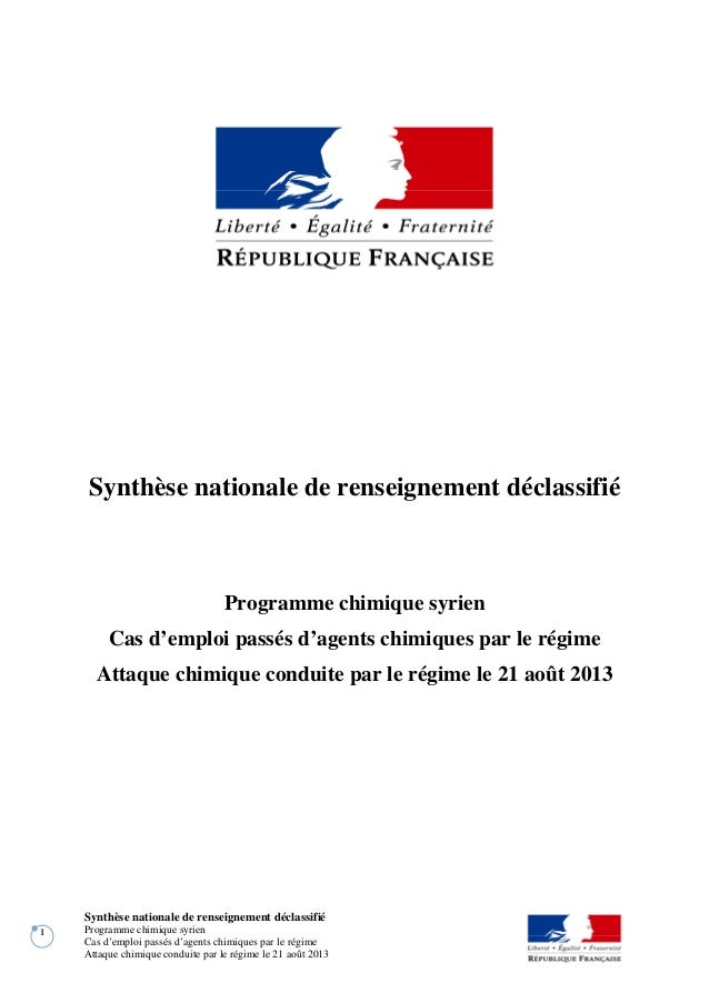 Synthèse nationale de renseignement déclassifié Programme chimique syrien Cas d'emploi passés d'agents chimiques par le ré...