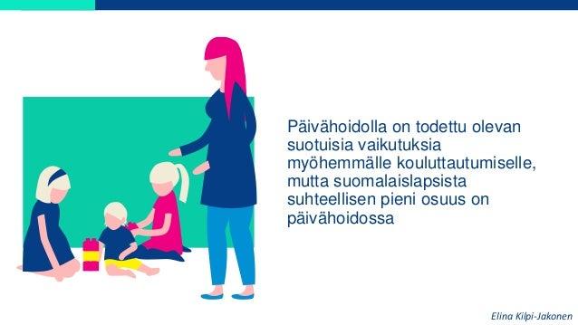 Päivähoidolla on todettu olevan suotuisia vaikutuksia myöhemmälle kouluttautumiselle, mutta suomalaislapsista suhteellisen...