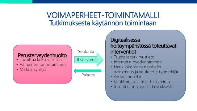 Perusterveydenhuolto • Tavoittaa koko väestön • Varhainen tunnistaminen • Matala kynnys Digitaalisessa hoitoympäristössä t...