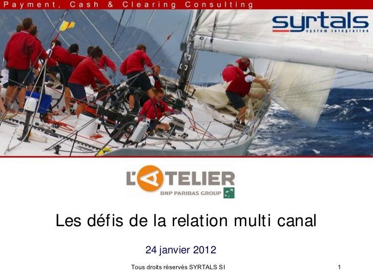 Les défis de la relation multi canal              24 janvier 2012          Tous droits réservés SYRTALS SI   1