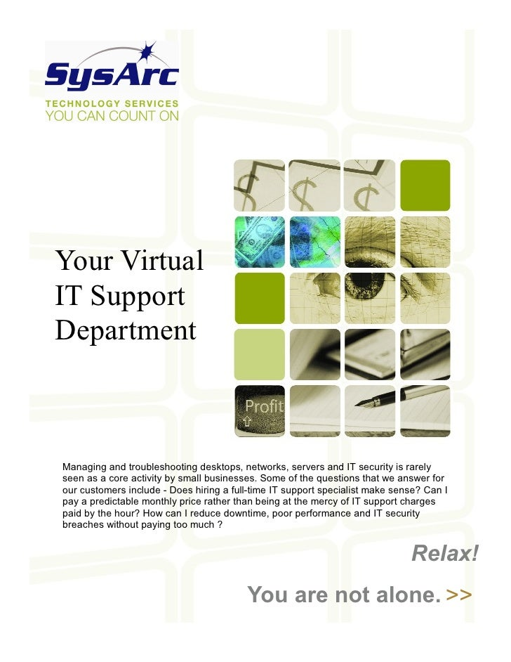 Your Virtual IT Support Department    Managing and troubleshooting desktops, networks, servers and IT security is rarely s...