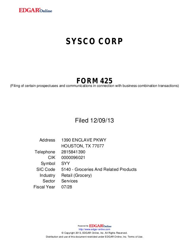 SYSCO CORP  FORM 425  (Filing of certain prospectuses and communications in connection with business combination transacti...