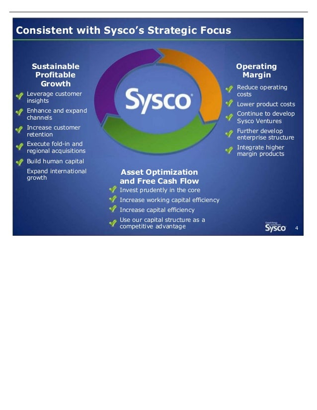Consistent with Sysco's Strategic Focus  Sustainable Profitable Growth  Operating Margin Reduce operating costs  Leverage ...