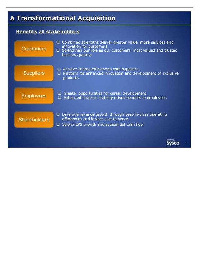 A Transformational Acquisition Benefits all stakeholders  Customers  Suppliers  Combined strengths deliver greater value, ...
