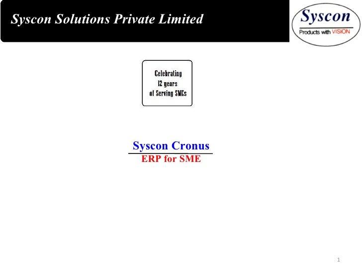 Syscon Solutions Private Limited Syscon Cronus ERP for SME