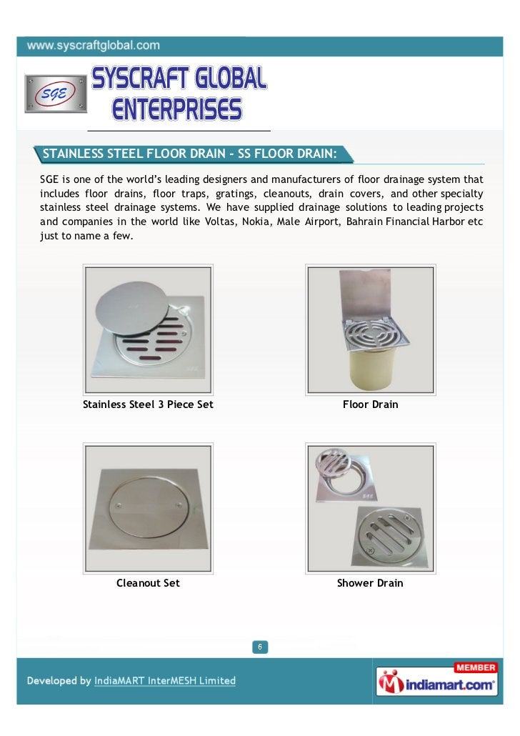 STAINLESS STEEL FLOOR DRAIN - SS FLOOR DRAIN:SGE is one of the world's leading designers and manufacturers of floor draina...