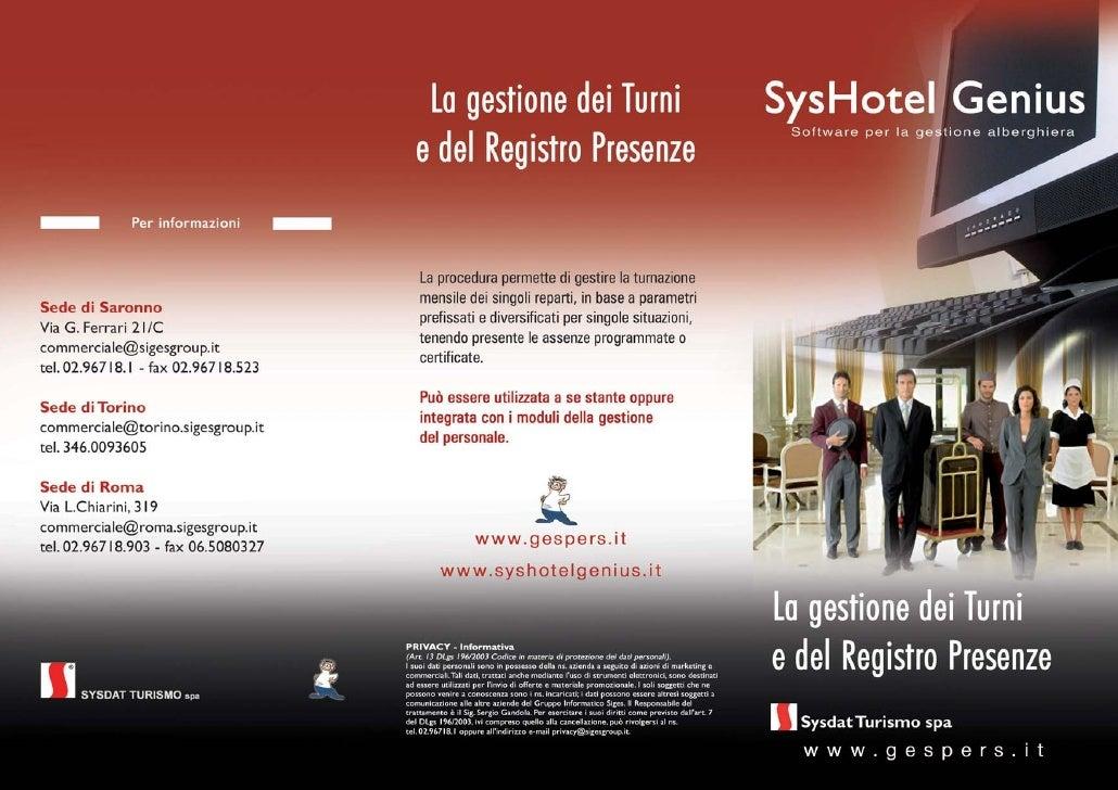 SysHotel Turni - La gestione dei turni e registro presenze