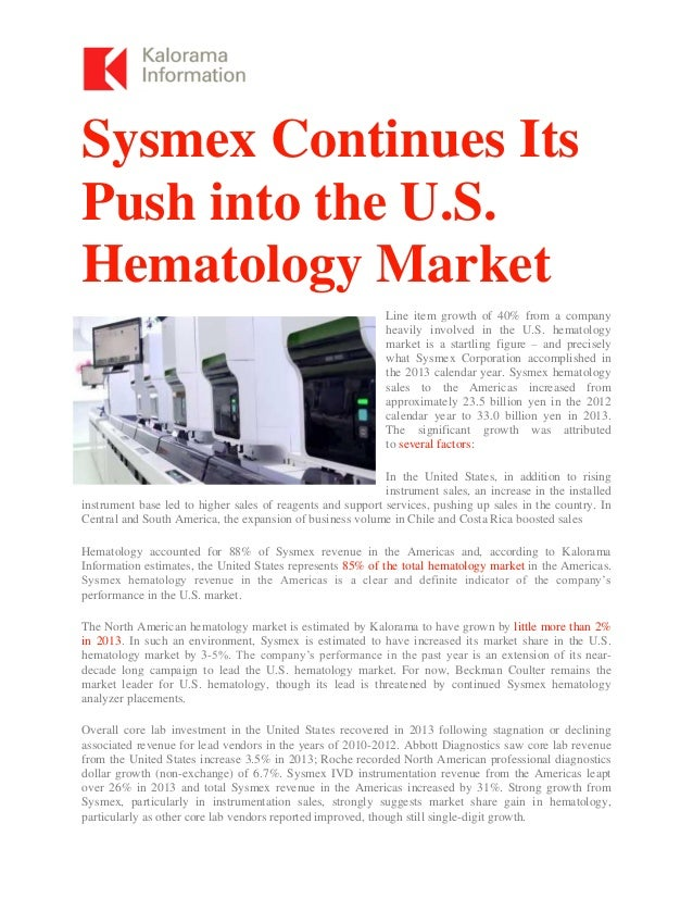 Sysmex Continues Push in US Hematology Market