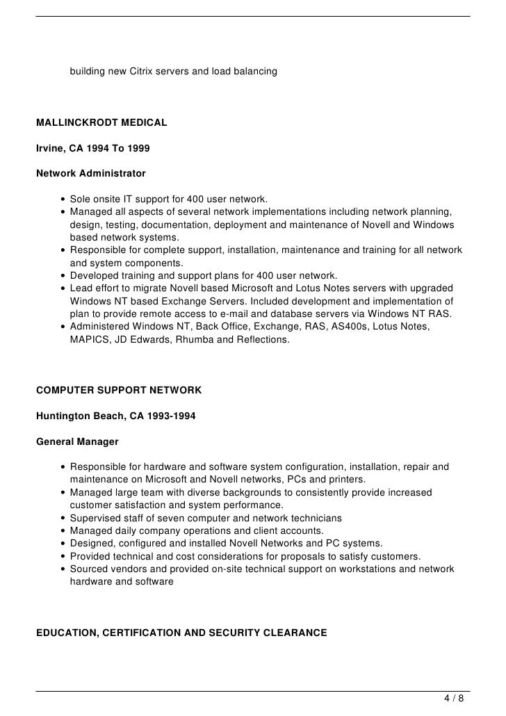 Computer Systems Administrator Sample Resume » Network System ...