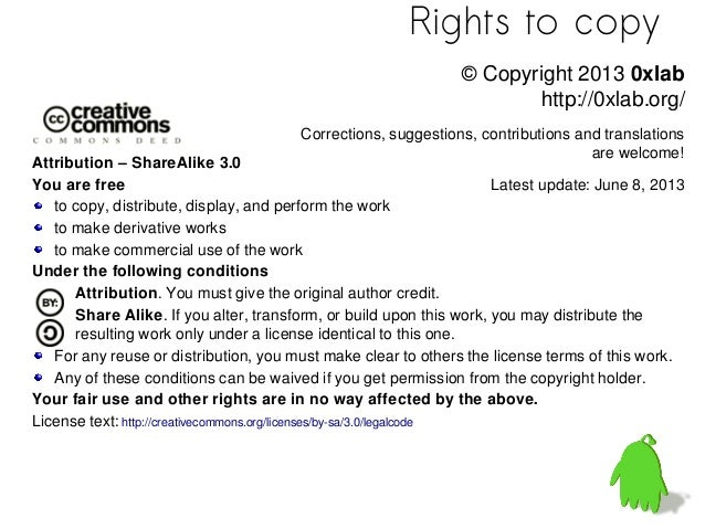 Rights to copyAttribution – ShareAlike 3.0You are freeto copy, distribute, display, and perform the workto make derivative...