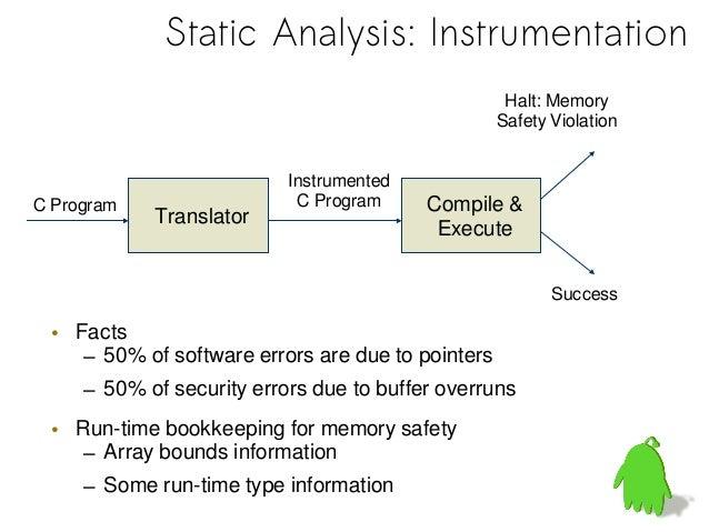 "• ""static"": no test runs• ""C"": full ANSI C + (GNU C)• Examplesint *c = (int *)malloc(sizeof(int)*10);c[i] = 1; c[i + f()] ..."