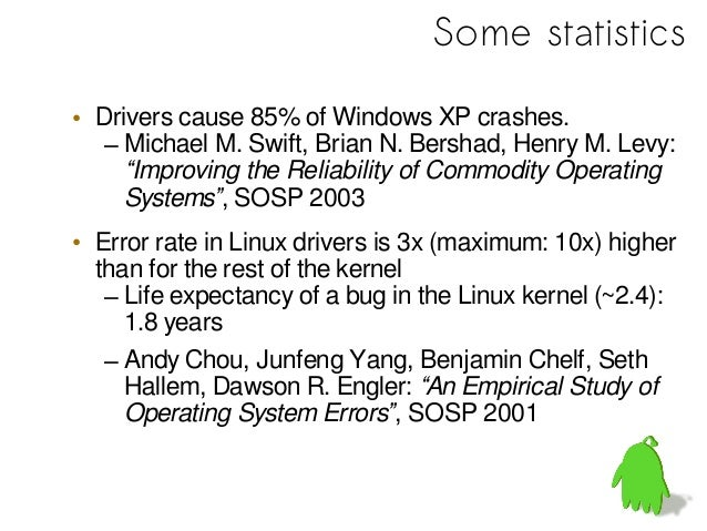 • Causes for driver bugs– 23% programming error– 38% mismatch regarding device specification– 39% OS-driver-interface misc...