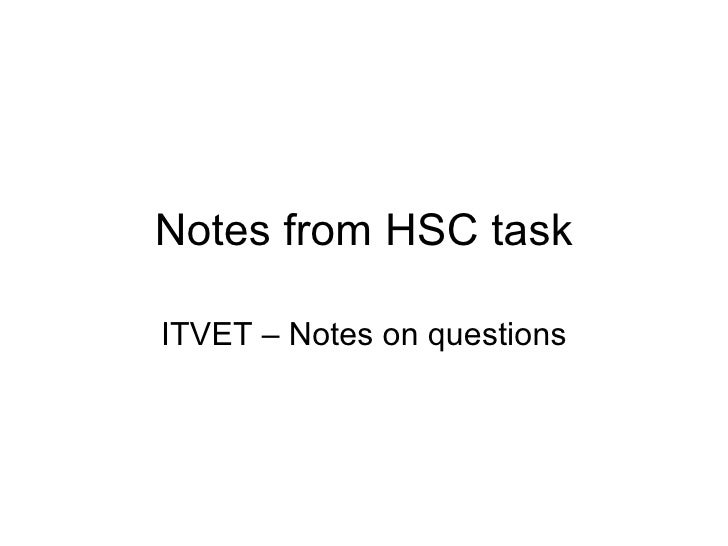 Notes from HSC task ITVET – Notes on questions