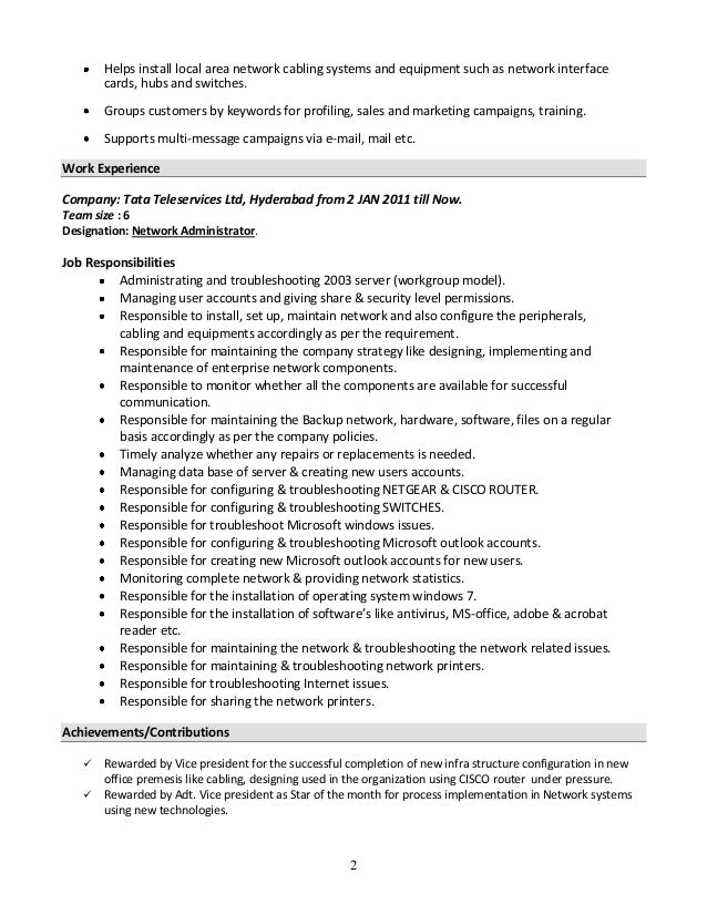 resume for system administrator - Network Administrator Resume