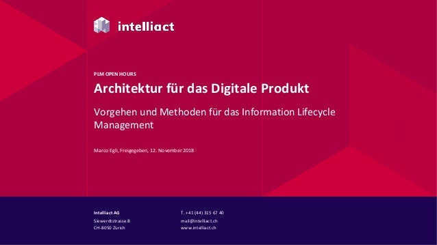 Intelliact AG Siewerdtstrasse 8 CH-8050 Zürich T. +41 (44) 315 67 40 mail@intelliact.ch www.intelliact.ch Architektur für ...