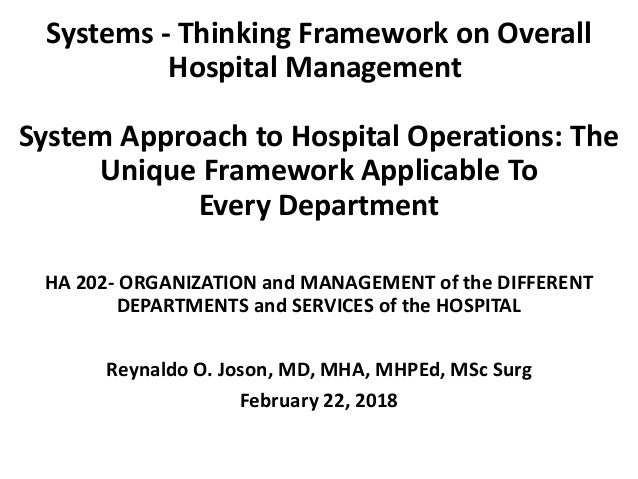 Systems - Thinking Framework on Overall Hospital Management System Approach to Hospital Operations: The Unique Framework A...