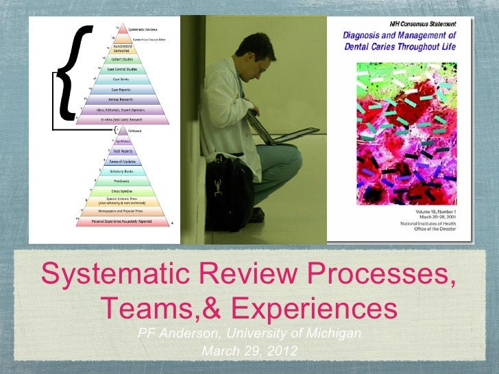 Systematic Review Processes,    Teams,& Experiences      PF Anderson, University of Michigan               March 29, 2012