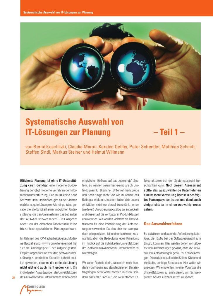 Systematische Auswahl von IT-Lösungen zur Planung         Systematische Auswahl von         IT-Lösungen zur Planung       ...