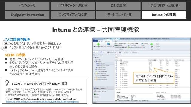 インベントリ アプリケーション管理 OS の展開 更新プログラム管理 Endpoint Protection コンプライアンス設定 リモート コントロール Intune との連携 Intune との連携 – 共同管理機能 こんな課題を解決 ◼ ...