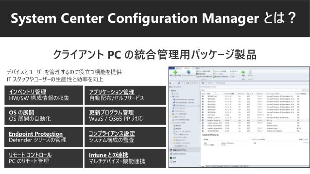 System Center Configuration Manager とは? クライアント PC の統合管理用パッケージ製品 Intune との連携 マルチデバイス・機能連携 コンプライアンス設定 システム構成の監査 デバイスとユーザーを管理...